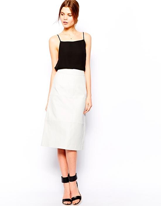 белая кожаная юбка миди