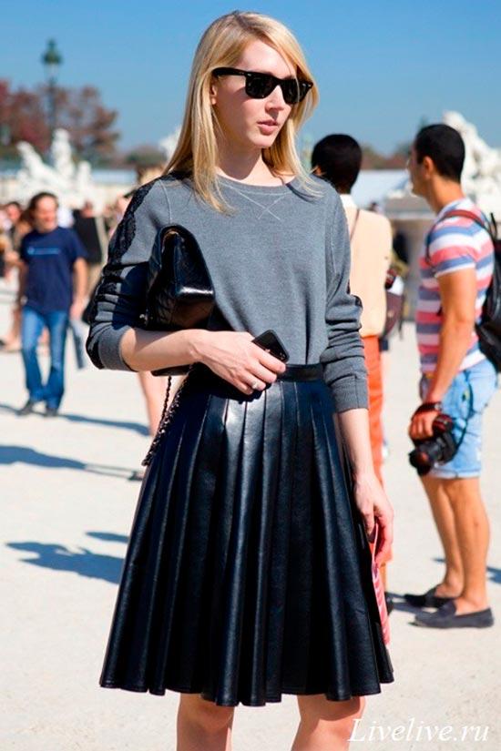 кожаная черная юбка