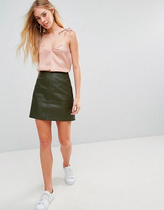 кожаная мини юбка