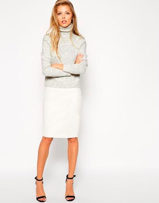 кожаная юбка белая