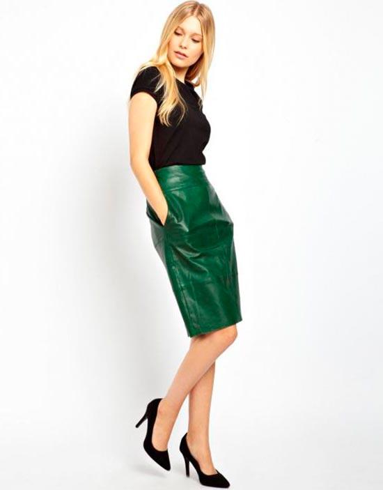 зеленая кожаная юбка карандаш