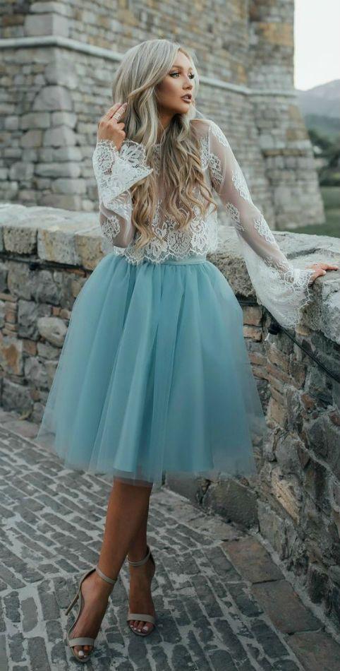 голубая юбка пачка миди фото