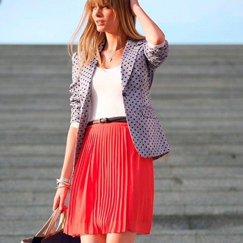 коралловая юбка плиссе фото