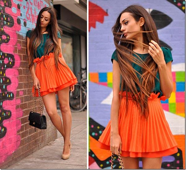 оранжевая юбка плиссе фото