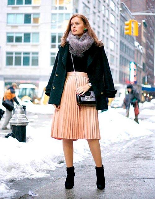 персиковая юбка плиссе фото