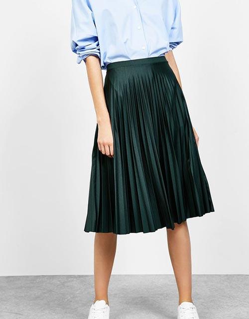 плиссированная юбка ниже колена