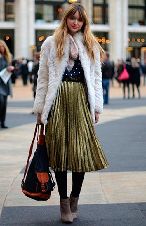 плиссированная юбка цвета металлик фото