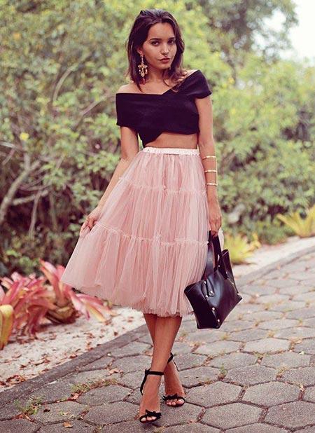 розовая юбка пачка с чем носить