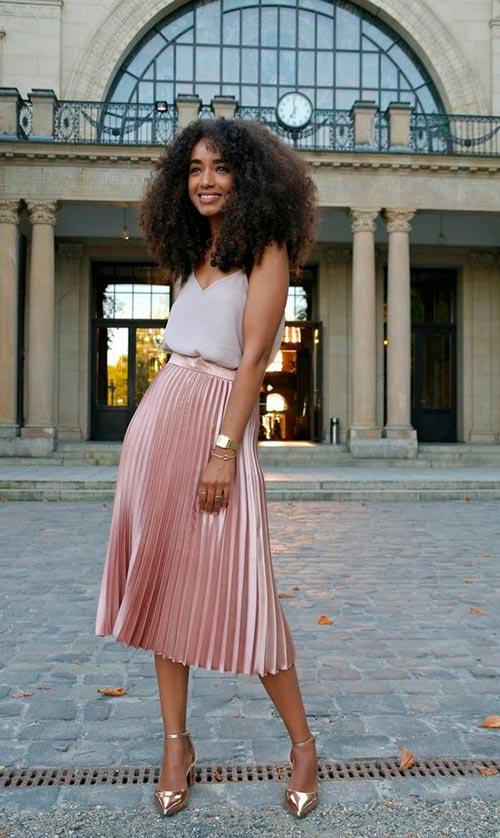 розовая юбка плиссе фото