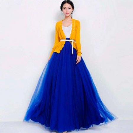 синяя юбка пачка в пол
