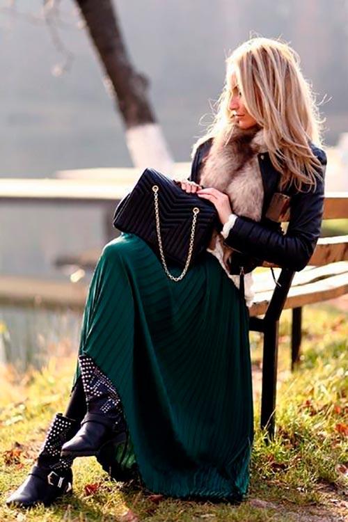 зеленая юбка плиссе макси фото
