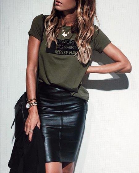 черная кожаная юбка карандаш фото