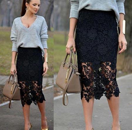 черная кружевная юбка карандаш миди
