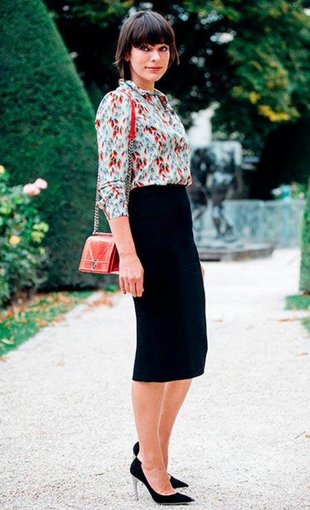 черная юбка карандаш ниже коленаjpg