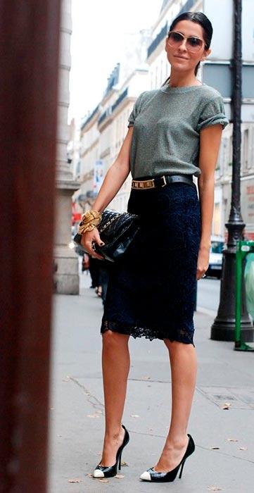 черная юбка карандаш с кружевом