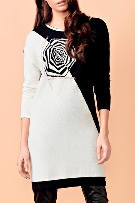 черно белое платье свитер