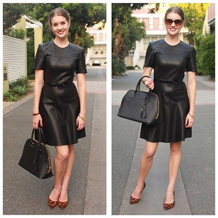 черное кожаное платье фото
