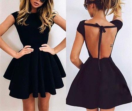 черное платье клеш