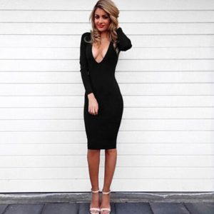 черное платье миди