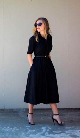 черное платье ниже колена фото