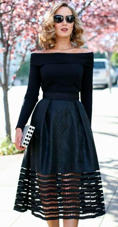черное платье открытые плечи