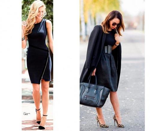 черное платье с туфлями фото