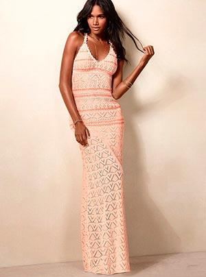длиное летнее вязаное платье фото