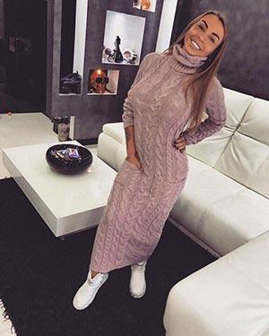 длиное вязаное платье фото