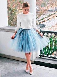 голубая юбка из фатина фото