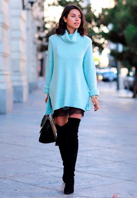 голубое платье свитер фото