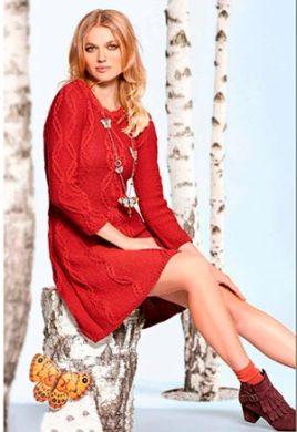 красное вязаное платье фото