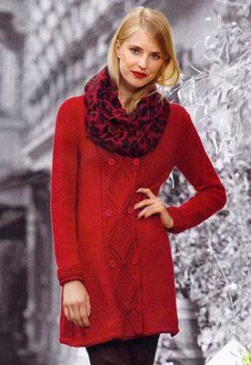 красное вязаное платье мини фото