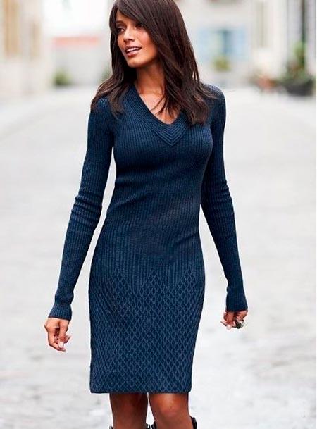 платье свитер миди фото