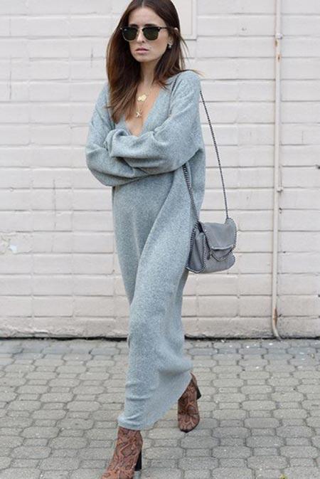 платье свитер в пол