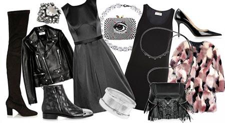 с чем сочетать черное платье