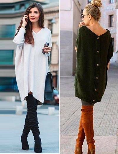 с чем сочетать вязаное платье