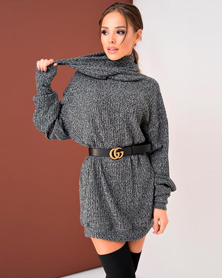 серое платье свитер фото