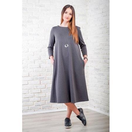 серое платье cвитер ниже колена фото