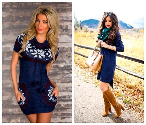 синее вязаное платье с чем сочетать
