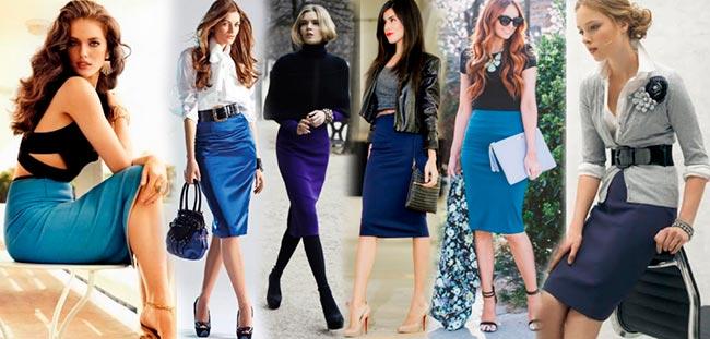 синяя юбка карандаш фото образы
