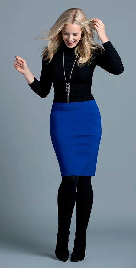 синяя юбка карандаш миди фото