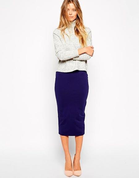 синяя юбка карандаш ниже колена фото