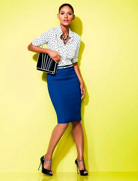 синяя юбка карандаш офисный стиль