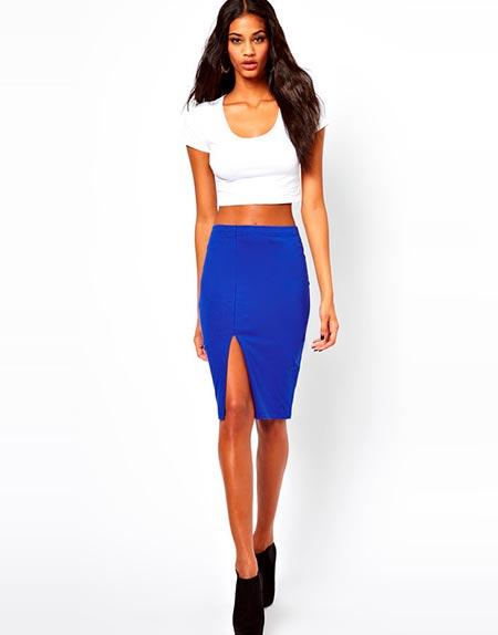 синяя юбка карандаш с чем носить