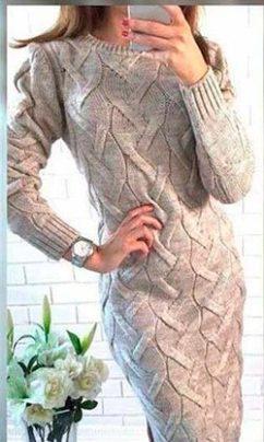светлое вязаное платье фото