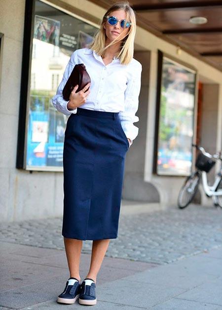 темно синяя юбка карандаш фото