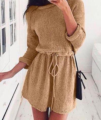 вязаное платье беж фото