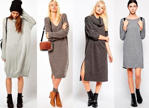 вязаное платье с чем носить