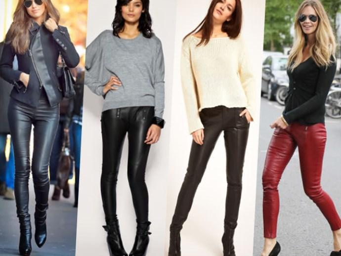 Стильные фасоны кожаных брюк фото