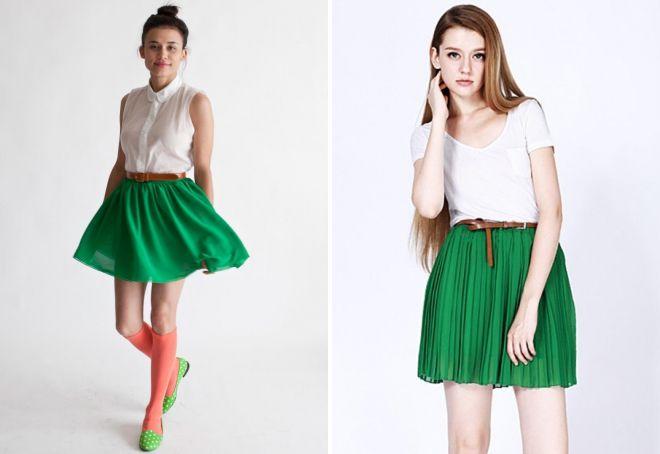 Короткие зеленые юбки фото